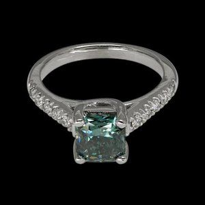 2 cts. Blue radiant diamond royal engagement ring